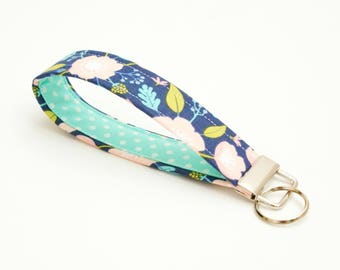 Key Fob - Navy, Pink and Aqua Floral Fabric - 5 Inch Key Ring - Key Chain - Cute Wristlet Loop - Mother's Day Gift - Short Lanyard Strap