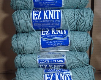 Coats and Clark E-Z Knit Vintage Yarn - 5 Skeins 401 Dark Grey