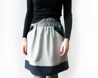 Skirt with pockets, Skater skirt, Winter skirt, Wool skirt, A line skirt, Grey skirt, Elastic waist skirt