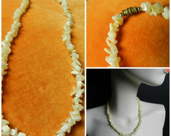 70s puka shell mother of pearl necklace bohemian hippie necklace screw clasp