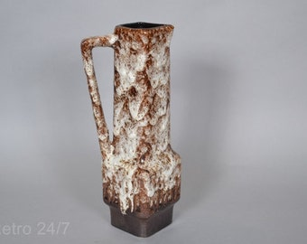 Stein vase  Retro brown  dripping glaze  West German - 40  28