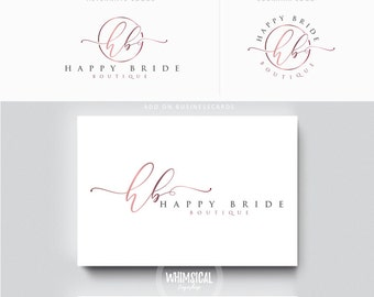 minimal script initials 2 Photographer logo kit Initials Photographer wedding boutique feminine cute elegant fashion business cards banner