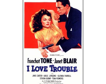 Movie I Love Trouble 1948 Vintage Poster Print Classic Crime Drama Film Retro Art  Free US Post Low EU Post