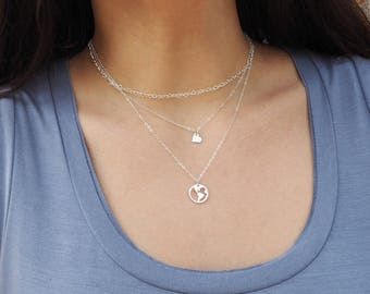 Sterling Silver Hearts Chain Necklace, Sterling Silver Love Necklace
