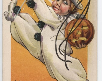 Halloween, vintage Halloween post card, Stecher Litho Co., Pierrot, Clown