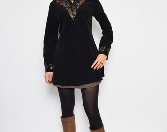 Vintage 90's Corduroy Embellished Top / Black Corduroy Top / Long Sleeve Corduroy Top - Size Large