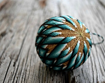 Teal Temari Ball, Blue Green Japanese Temari Ball, Japanese Folk Art, Temari Ball Ornament, Christmas Temari Ball Ornament. Christmas Bauble