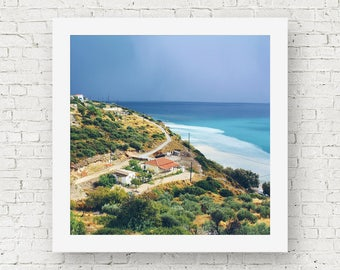 Greece wall art photography, travel print wall art, landscape photograph, travel wall print, square print decor, fine art print decor, Samos