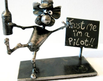 La souris pilote ivre recyclés Sculpture en acier