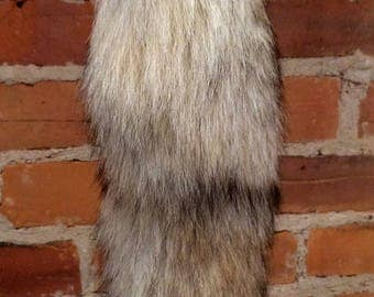 Recycled Fur Key Chain - Striped Coyote Tail Real Fur Key Chain Purse Charm