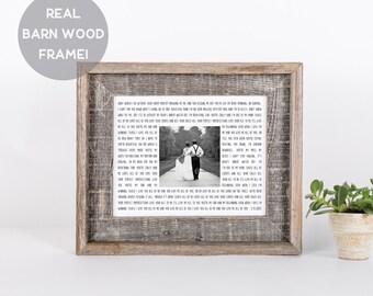 Custom Framed Song Lyric Print, First Anniversary Gift, Wedding Gift, Cool Gift Idea, Engagement Gift, Gift for Daughter, Framed Photo