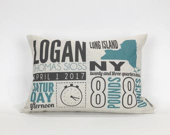 New Mom Gift, Baby Gift, Birth Announcement Linen Pillow, Nursery Decor, Baby Boy, Baby Girl, Gift for Mom, Unique Baby Gift, Baby Stats