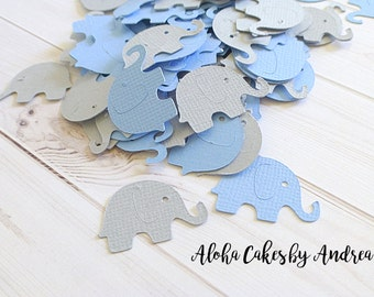 Elephant Confetti, Baby Shower Decorations, It's A Boy Baby Shower, Blue and Gray Elephant Die Cut, Shower Ideas, Set of 100
