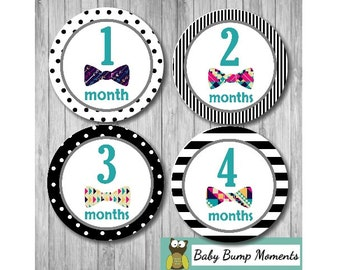 Month Stickers Baby Boy, Milestone Baby Gift, Baby Age Stickers, Baby Monthly Milestone Sticker, Baby Photo Prop, Bow Tie, Hipster
