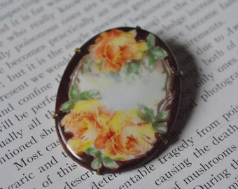 Antique Handpainted Cameo - Vintage 1910s Brooch, Cabbage Roses