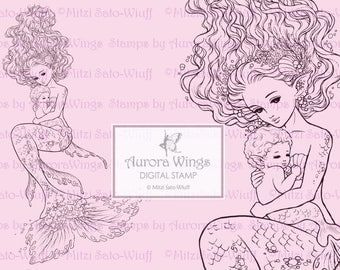 Digital Stamp - Instant Download - Mermaid and Her Baby - Set of Two Files - digistamp - Fantasy Line Art for Cards & Crafts
