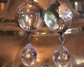 Rock Crystal Sterling Repousse wrap Pools of Light Earrings