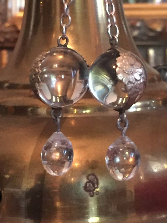 Reserved for KH. Rock Crystal Sterling Repousse wrap Pools of Light Earrings