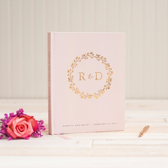 Wedding Guest Book Gold Foil wedding guestbook monogram wreath gold foil custom guest book album personalized instant photo booth book blush
