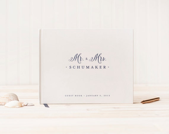 Wedding Guest Book landscape Guestbook horizontal wedding album hardcover wedding guestbook wedding planner instant photo album Mr. and Mrs.
