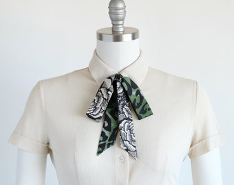Garden green leopard rose skinny scarf, fun accessories, glam rocker style tie scarf, boho hair bow, green, black, off-white