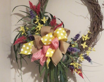 Summer Flower Wreath, Country Wreath, Front Door, Grapevine Wreath, Urban Country, Freesia, Floral Wreath, Grape Hyacinths FREE SHIP