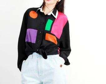 Vintage 80s Colorblock  Blouse / Colorblock Shirts / 80s Shirt  / Loose Fit Shirt / Button Down Shirt / Size L