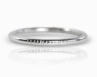 Texture Line Stacking Ring - Silver Stacking Ring - Simple Silver Ring - Silver Ring - Sterling Silver Ring - Hammered Silver Ring Midi Ring