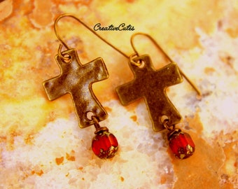 Rustic Cross Earrings Unique Boho Jewelry Red Czech Glass Beads Hammered Brass Cross Dangle Earrings Urban Chic Christian Jewelry