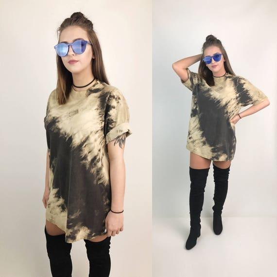 90's Tie Dye Bleached Brown Tan Tall Tee XL - Unisex Tie Dye Grunge Goth Plus Size Streetwear Crew Neck Two Tone Shirt Punk Avant Garde