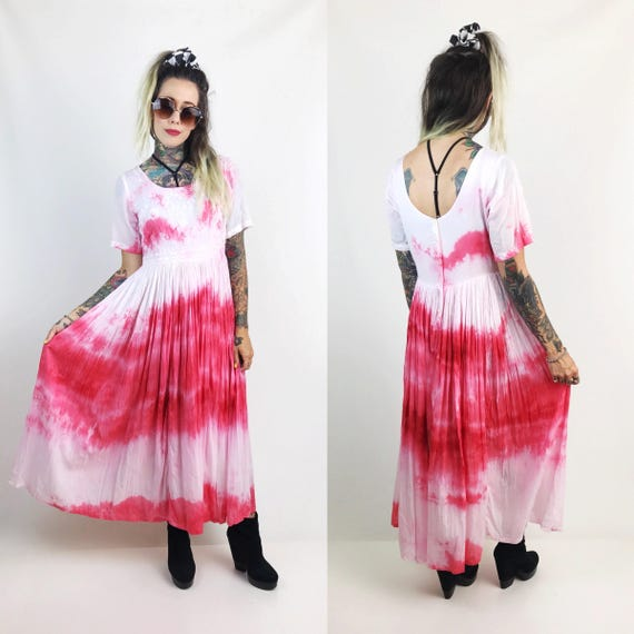 Vintage Embroidered Tie Dye Maxi Dress Size 4/6 - Rose Red & White Hand Dyed Long Boho Dress - VTG Cotton Babydoll Dress With Back Buttons