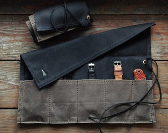 Tool roll in waxed canvas, watch travel case - Volcano Goods
