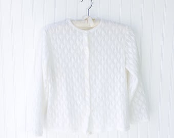 virgin white acrylic knitted cardigan sweater / vtg 50s pinup top / Millay Japan label / nylon lined / button front