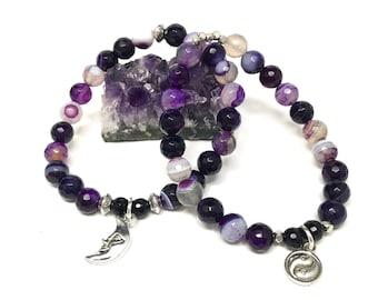 Purple Agate Stretch Bracelet Set