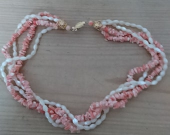 Vintage coral and mother of pearl bead necklace