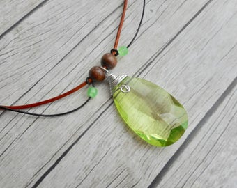 Grass Green faceted pendant necklace handmade jewelry ladies brown leather straps homemade jewelry unique boho bohemian style jewelery gift