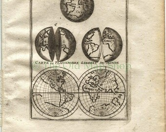"1719 Manesson Mallet World Map ""Globe Terrestre; Carte ou Planisphere General du Monde"" published by Johann Adam Jung"