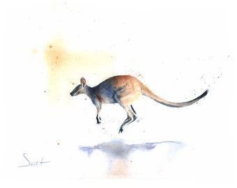 KANGAROO ART PRINT - kangaroo watercolor, wallaby print, kangaroo lover, kangaroo print, kangaroo wall art, kangaroo decor, wildlife art
