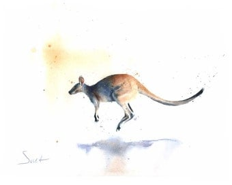 WATERCOLOR KANGAROO PRINT - kangaroo artwork, wallaby print, kangaroo lover gift, kangaroo wall art, kangaroo decor, kangaroo gifts