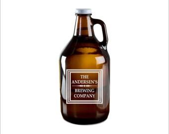 SHIPS FAST, Personalized Growler, Etched Growler, Custom Beer Growler, Engraved Beer Growler,  Wedding Gift, Brewery Gift, Groomsmen, GR02