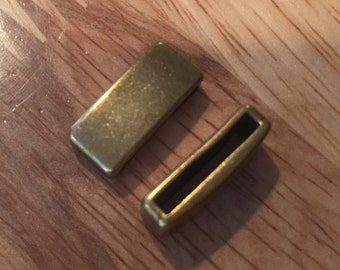 2 Electroplated 15mm Flat Leather Sliders, Brass Wide 15mm Flat Leather Bar finding, jewelry supplies