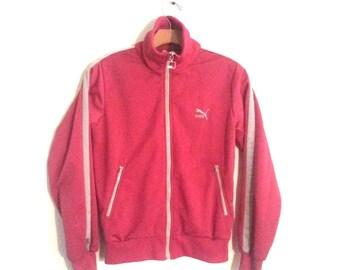 Vintage Puma Track Jacket Fuscia Pink Trainer Small XS