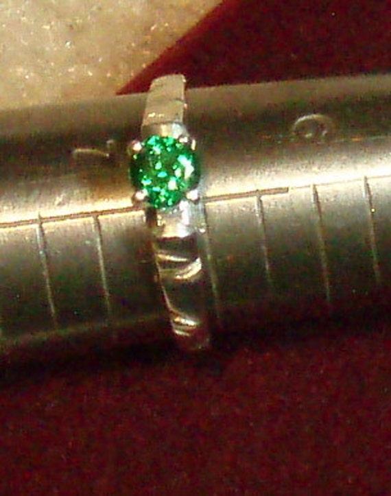 Natural Tsavorite Garnet and Sterling Ring