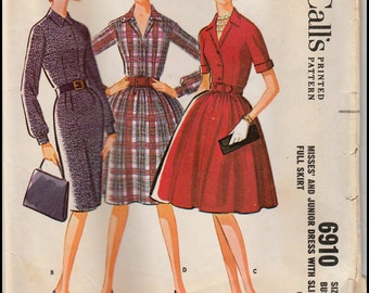 McCall's 6910  Misses' And Junior Dress with Slim Or Full Skirt Bust 34""