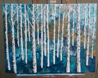 Birch Tree Acylic Painting with Abstract Fluid Art Background