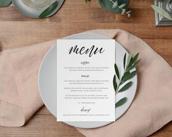 DIY Printable Wedding Menu | Minimal Calligraphy Script Style Black and White