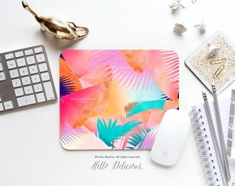 "Palm Leaves Mousepad ""Cuban Sunset"" by Iveta Abolina Mousepad Tropical Leaves Mousepad Mouse Pad Office Mousemat Beach Palm Trees I124"