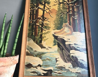 Framed Mountain Lion Paint By Number