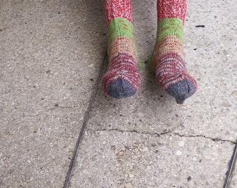 Size 44-45 EU/10 1/2-11 1/2 men 11 1/2-12 1/2 women US Hand knitted striped men wool socks Ready to ship One of a kind Classic/warm socks