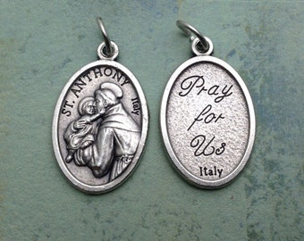 Silver Plated St Anthony medal. Saint Anthony Patron Saint of Lost and Stolen, the Poor, and expectant mothers, elderly people